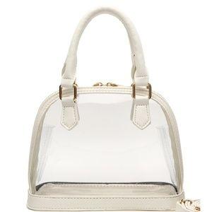 Handbags - white clear stadium purse transparent crossbody